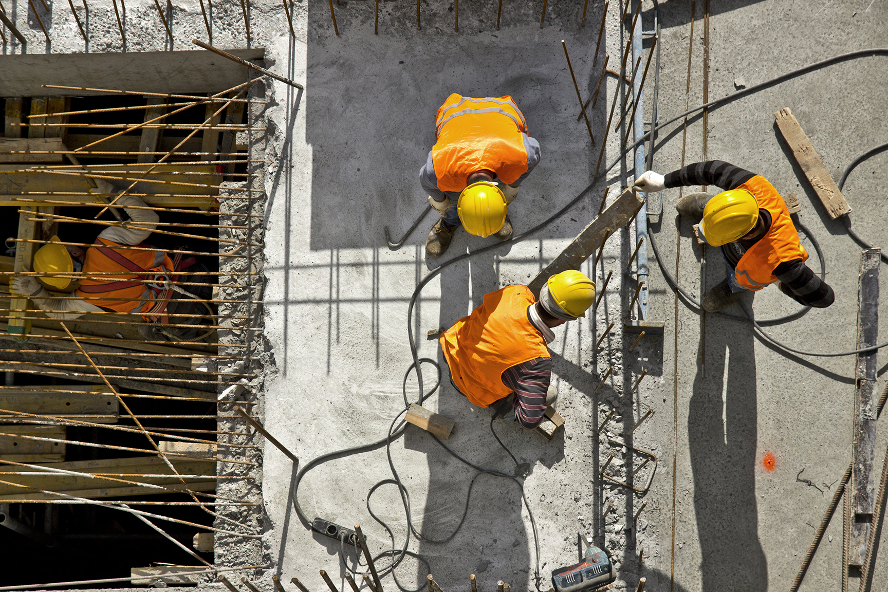 Construction site workers
